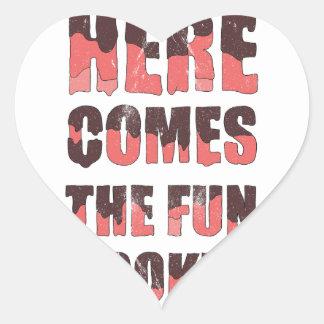 Vem aqui o fogão do divertimento adesivo coração