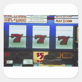 Vencedor afortunado do slot machine adesivo quadrado