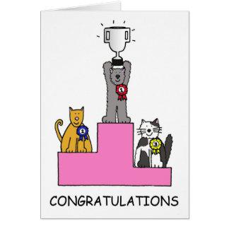 Vencedor da mostra do gato dos parabéns! cartão comemorativo
