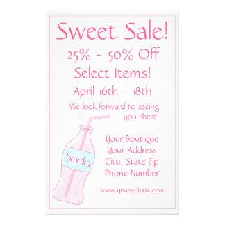 Venda doce - soda cor-de-rosa panfleto personalizado