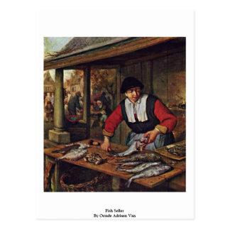 Vendedor dos peixes por Ostade Adriaen Van Cartoes Postais