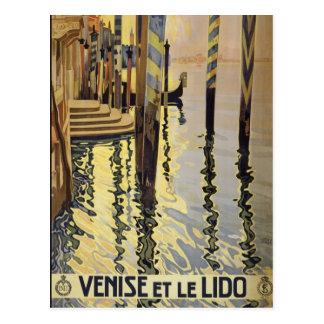 Venise e Le Lido, cartão do vintage de Veneza,