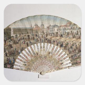 Ventile a descrição da plaza de la Cebada, Madrid Adesivo Quadrado