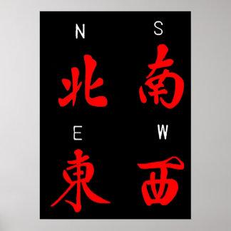 Ventos de Mahjong terno da honra c norte sul Pôsteres