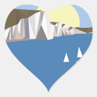 Verão branco dos penhascos adesivo coração