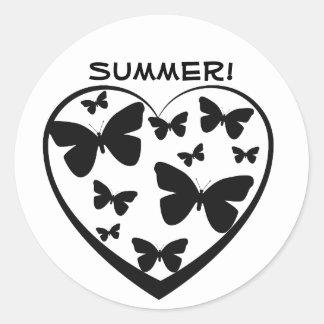 Verão, coração aberto com borboletas pretas adesivo