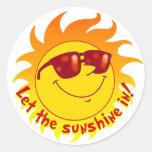 Verão de sorriso Sun Adesivos Redondos