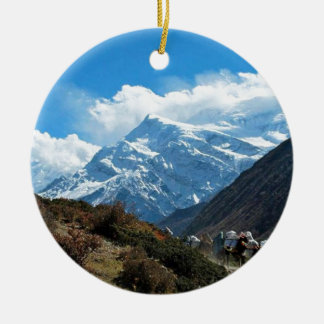Verão do viagem de Himalaya Monte Everest India Ornamento De Cerâmica Redondo
