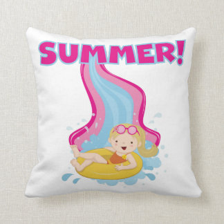 Verão louro da menina travesseiro de decoração