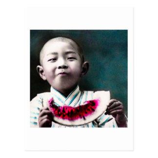Verão na melancia velha do vintage de Japão Cartão Postal