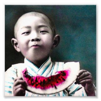 Verão na melancia velha do vintage de Japão Impressão De Foto