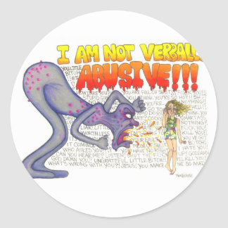 verbal abusivo adesivo redondo