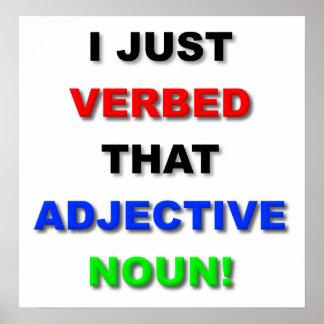 Verbo o poster engraçado do substantivo