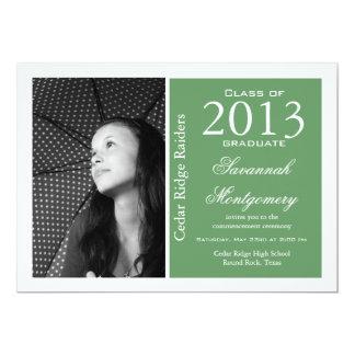 Verde 2013 dos anúncios da conclusão do ensino convite 12.7 x 17.78cm