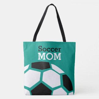 Verde à moda na moda da bola de futebol da mamã do bolsa tote