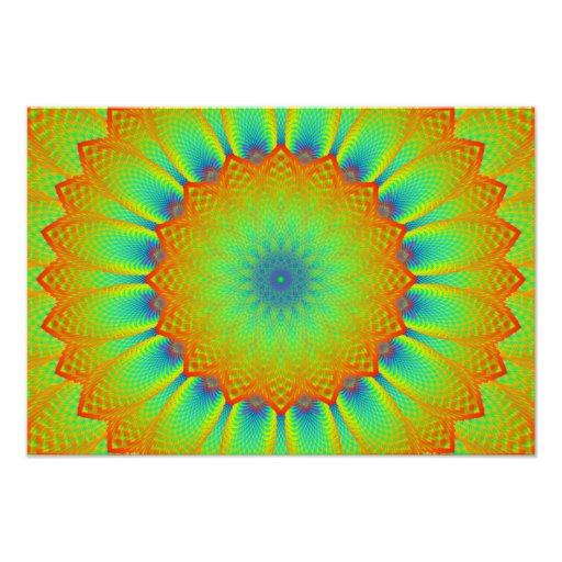 Verde abstrato do pixel do Fractal do girassol Fotografia