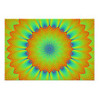 Verde abstrato do pixel do Fractal do girassol Impressão De Foto