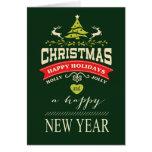 Verde alegre da tipografia | do Natal do azevinho  Cartoes