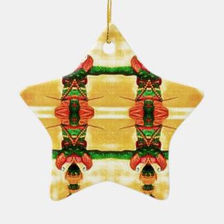 Verde amarelo da guarda psicadélico ornamento de cerâmica
