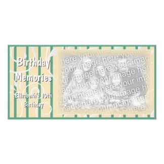 Verde amarelo do cartão com fotos das memórias da