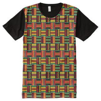 Verde amarelo vermelho do orgulho africano camisetas com impressão frontal completa