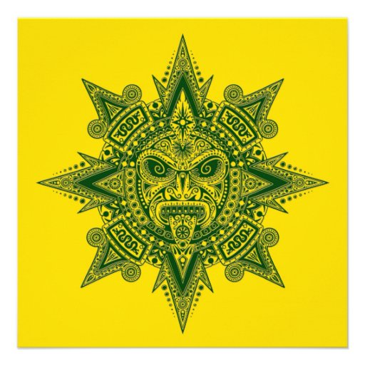 Verde asteca da máscara de Sun no amarelo Convites Personalizados