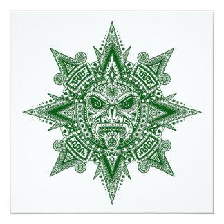 Verde asteca da máscara de Sun no branco Convites Personalizados
