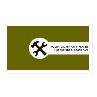 Verde azeitona dos cartões de indústria da constru modelo cartão de visita