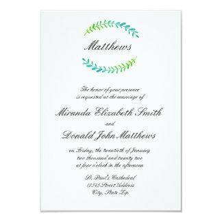 Verde azul do ramo - convite do casamento 3x5