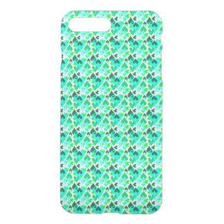 Verde bonito do caso do teste padrão dos corações capa iPhone 7 plus