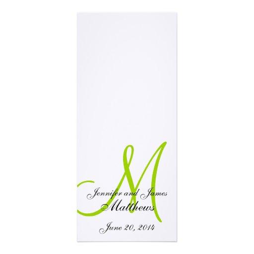 Verde branco de linho do monograma do programa da  convites personalizados