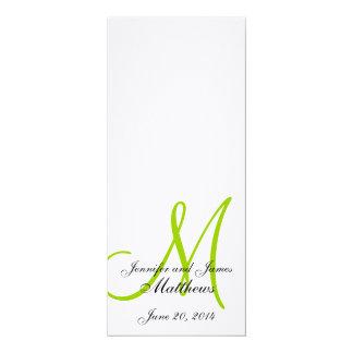 Verde branco de linho do monograma do programa da convite 10.16 x 23.49cm