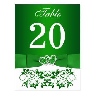 Verde, cartão floral branco do número da mesa