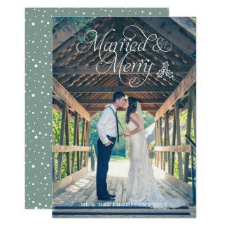 Verde casado & alegre do cartão do feriado da foto