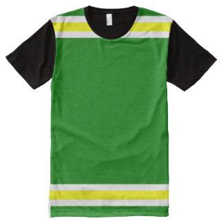 Verde com guarnição branca e amarela camiseta com impressão frontal completa