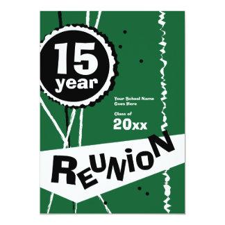 Verde convite da reunião de classe de 15 anos