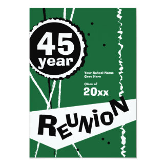 Verde convite da reunião de classe de 45 anos