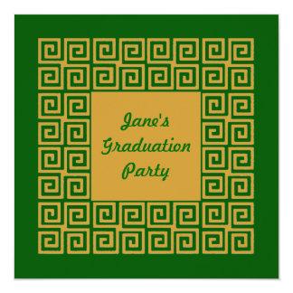 Verde & convite de festas do teste padrão chave do