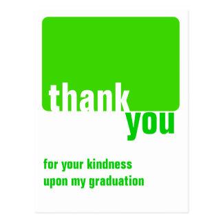 Verde customizável - obrigado - graduação cartão postal