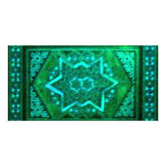 Verde da caixa do mosaico cartão com foto personalizado