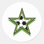 verde da estrela de futebol adesivos redondos