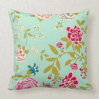 Verde da hortelã do design floral do Chinoiserie Almofada