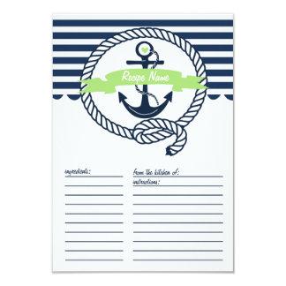 Verde da hortelã e cartão náutico da receita das convite 8.89 x 12.7cm