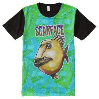 verde da ilustração dos peixes do estilo dos camisetas com impressão frontal completa