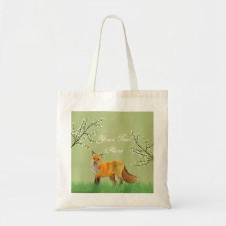 Verde das árvores de floresta do Fox vermelho Bolsa Tote