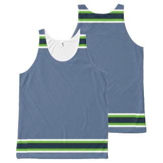 Verde das Azul-Cinzas e guarnição de néon do Regata Com Estampa Completa