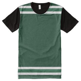 Verde de caçador com guarnição branca camiseta com impressão frontal completa