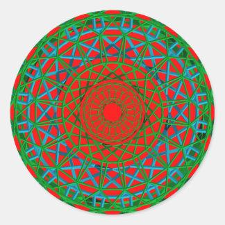 Verde de Chakra, vermelho, etiqueta azul