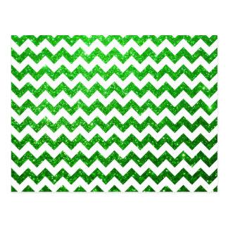 Verde de Chevron do brilho Cartão Postal