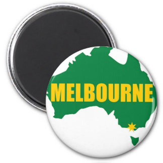 Verde de Melbourne e mapa do ouro Ímã Redondo 5.08cm